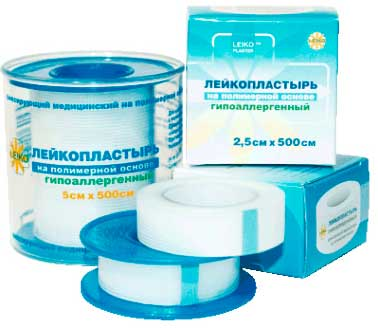 Фиксирующий медицинский лейкопластырь на полимерной основе
